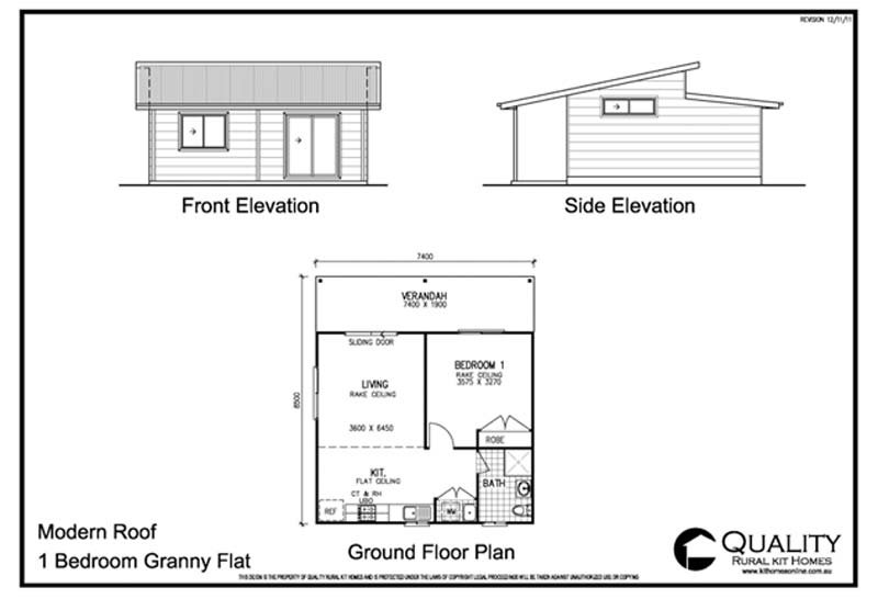 Meadow lea 1 bedroom granny flat kit home kit homes online for 1 bed house plans