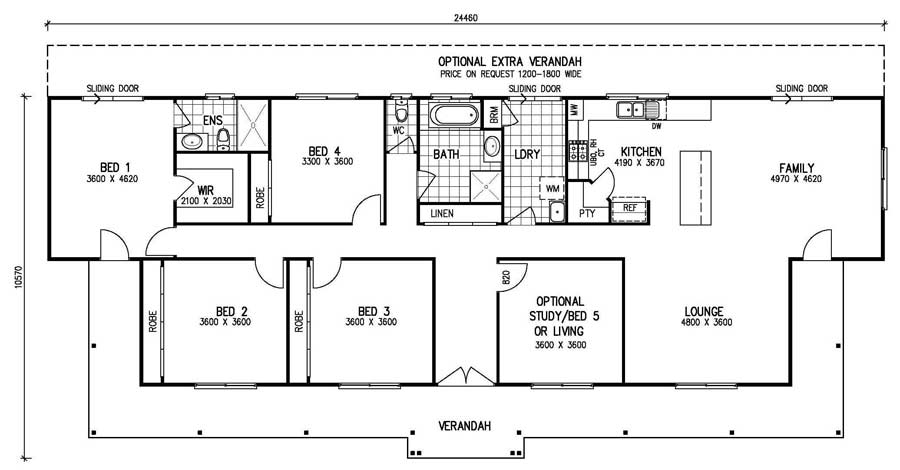 The karingal mk iii 4 bedroom home kit homes online for 5 bedroom floor plan designs