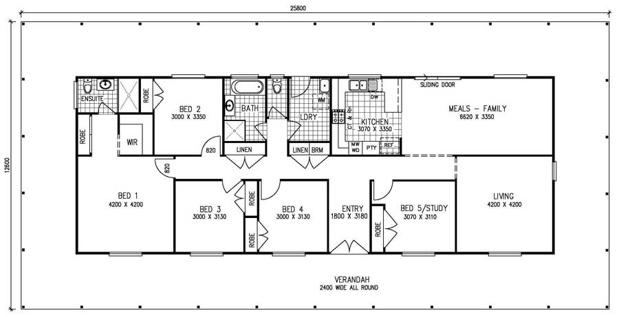 5 bedroom kit home meadow view the owner builders kit for Free 5 bedroom house plans